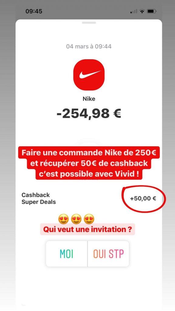 25% de cashback chez Nike avec Vivid